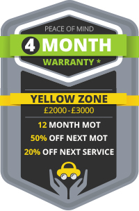 Yellow Zone - 4 Month Warranty with 12 Month MOT, 50% OFF Next MOT and 20% OFF Next Service