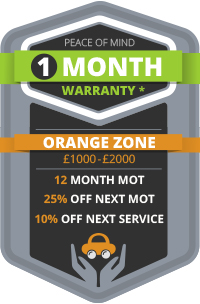 1 Month Warranty - Orange Zone, 12 Month MOT, 25% Off Next MOT, 10% Off Next Service