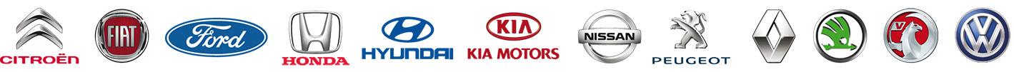 Citroen, Fiat, Ford, Honda, Hyundai, Kia, Nissan, Peugeot, Renault, Skoda, Vauxhall