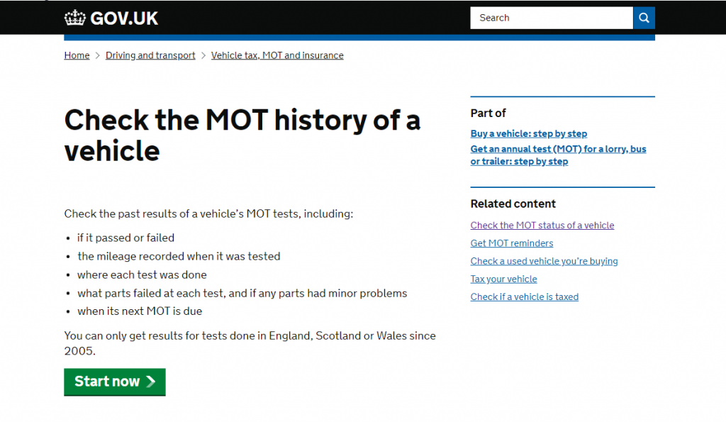 GOV UK - Check the MOT history of a car
